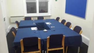 Small conference room, boardroom style